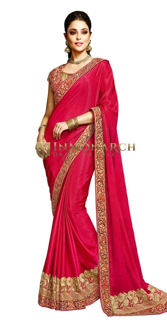 Vivacious Crimson Beige Designer Saree