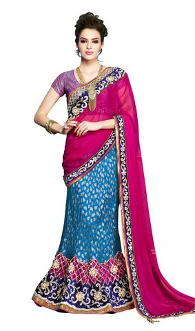 Party Wear Sky Blue Lehenga saree