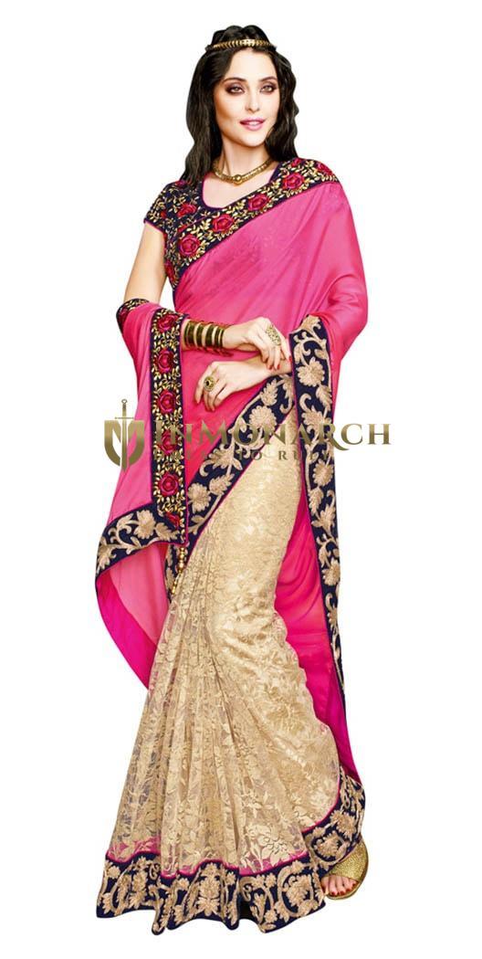 Spectacular Beige Pink Net jequard Saree