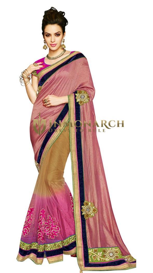 Tempting Peach Beige Net Chiffon Sari