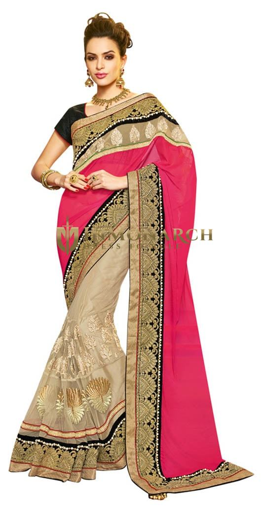 Sophisticated Pink Beige Net Embroidered Saree