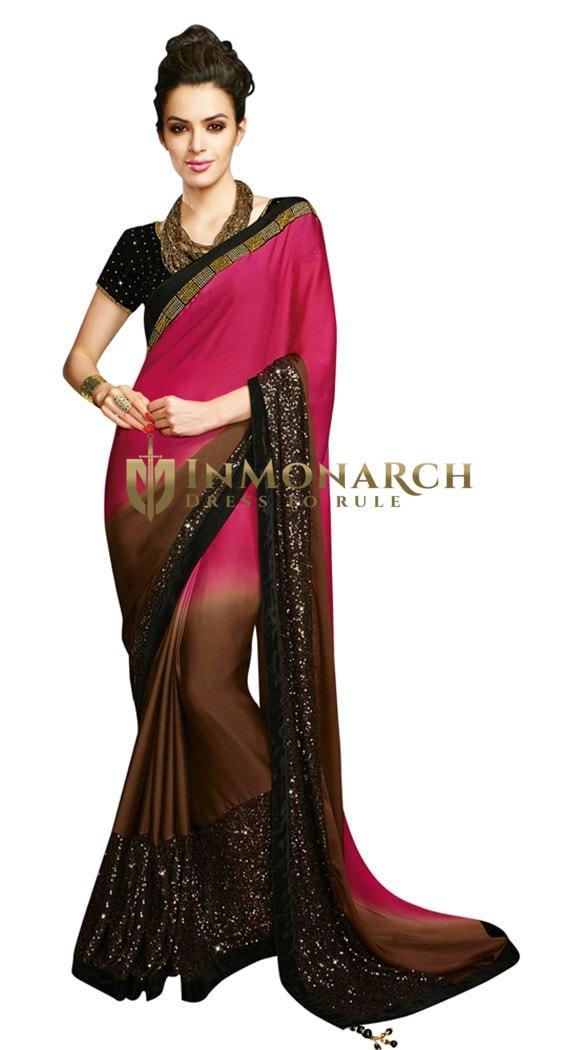 Elegant Luminous Satin Designer Saree