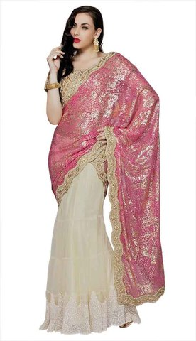 Classy Natural and Pink Lehenga Saree