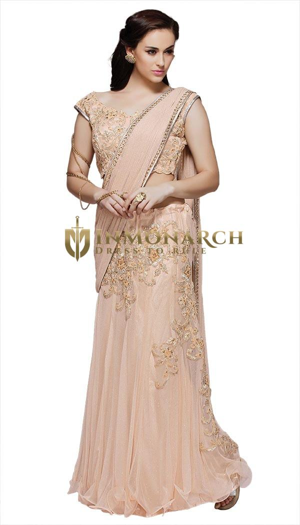 Ravishing Light Peach Net Lehenga Saree