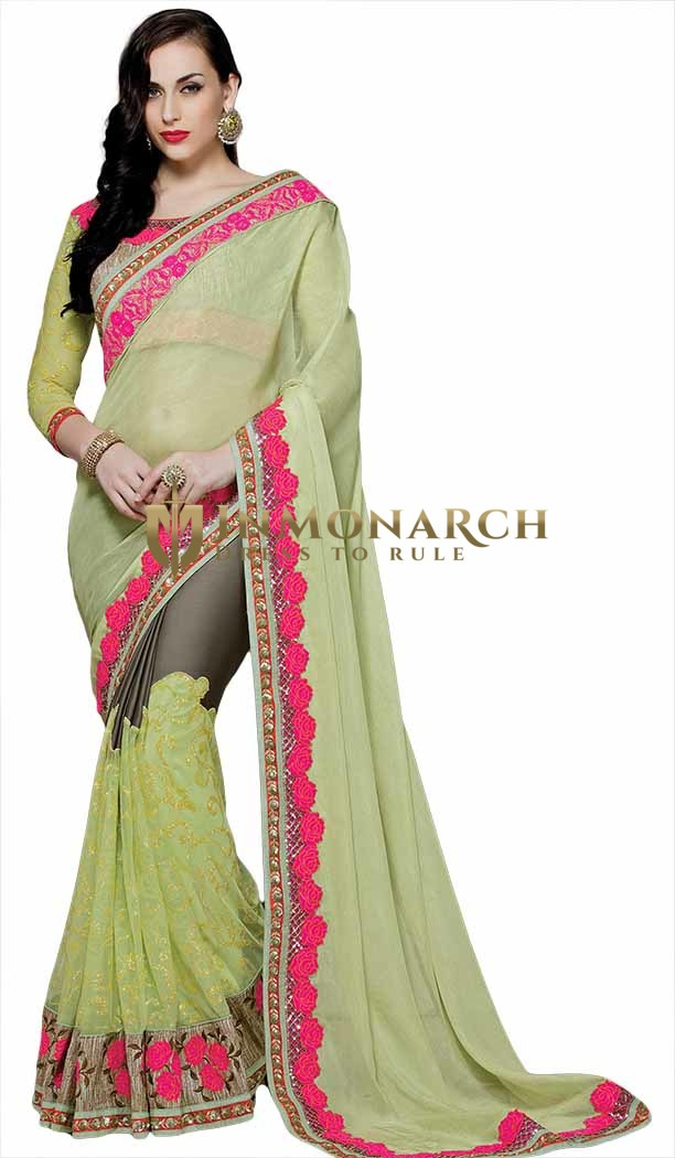 Stupendous Light Green and Brown Bridal Saree