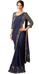Lycra and Silk Dark Blue Bridal Saree