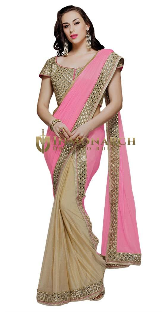 Pink and Beige Lycra & Silk Georgette Bridal Saree