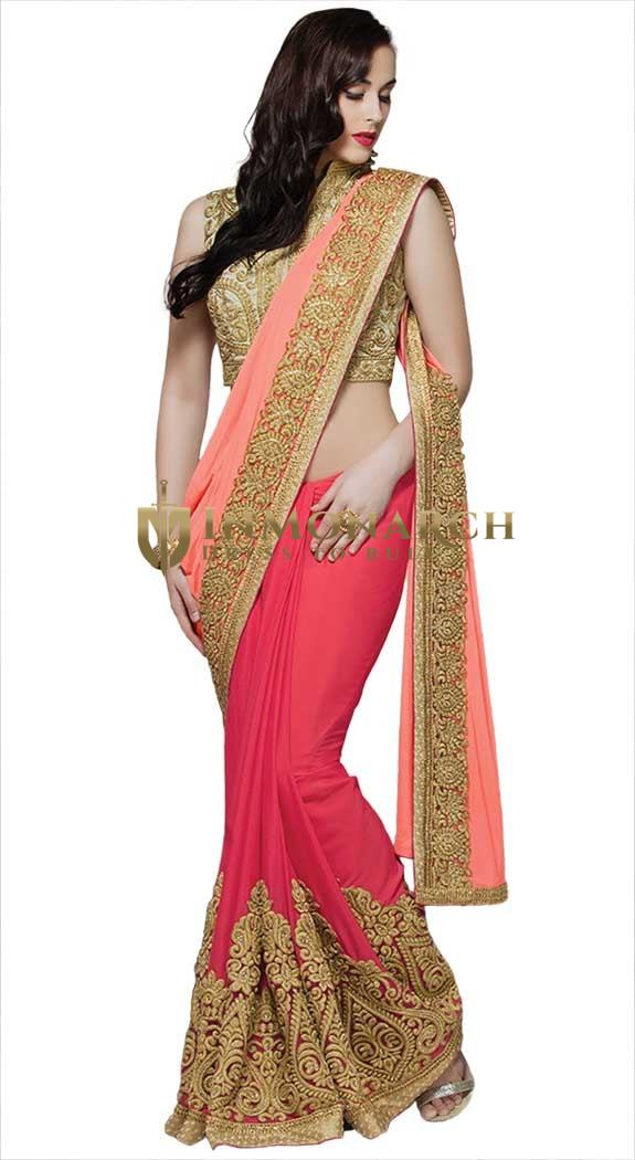 Awesome Peach and Soft Red Bridal Saree