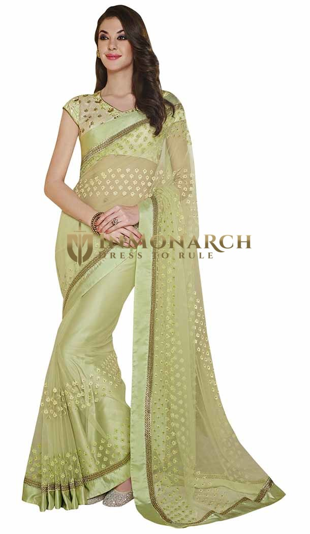 Amazing Green Georgette Brasso Saree