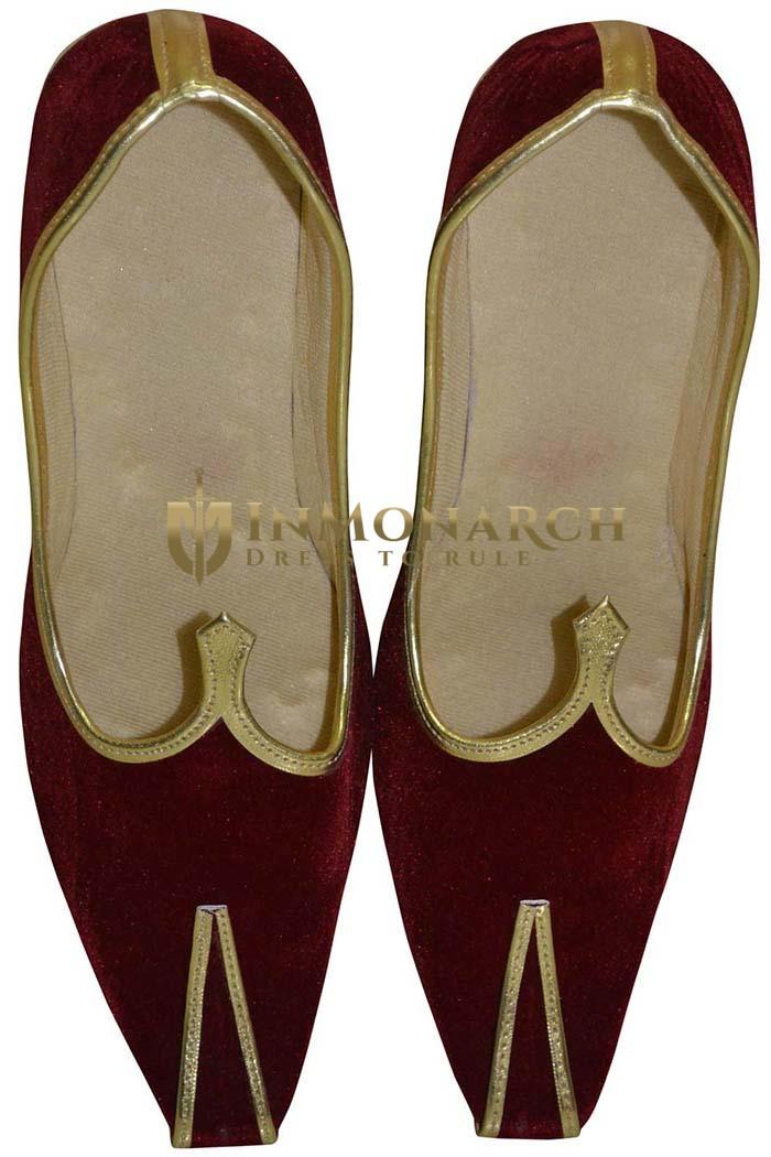 Mens Juti Maroon Velvet Rajasthani Juti Sherwani Shoes