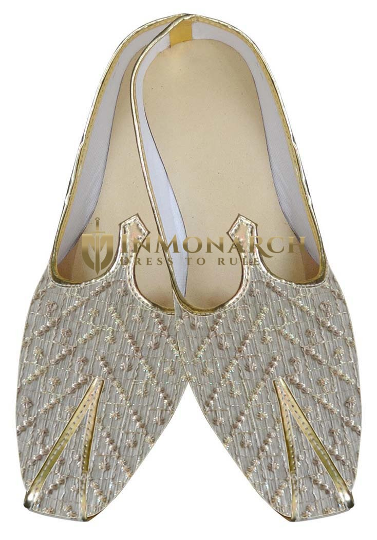 Indian Mens Shoes Cream Wedding Shoe Designer Sherwani Juti