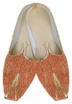 Mens Orange Brocade Wedding Shoe