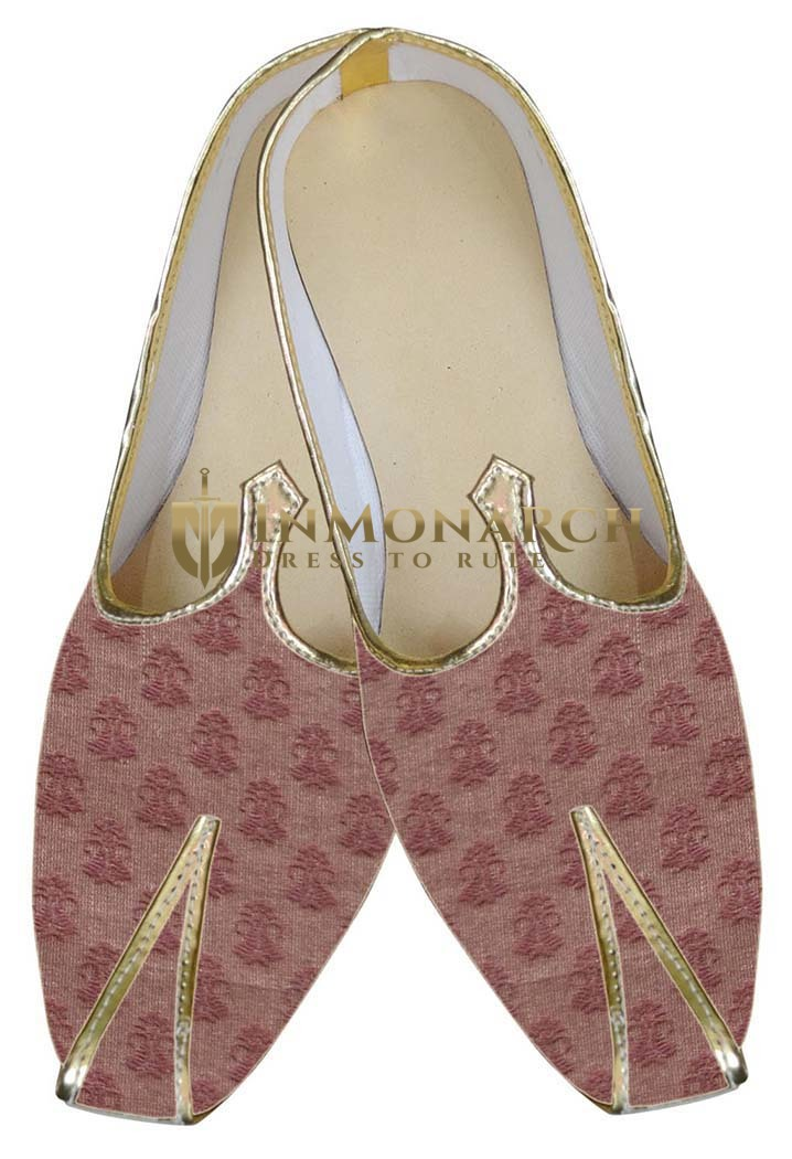 Mens Brown Brocade Wedding Shoes Traditional