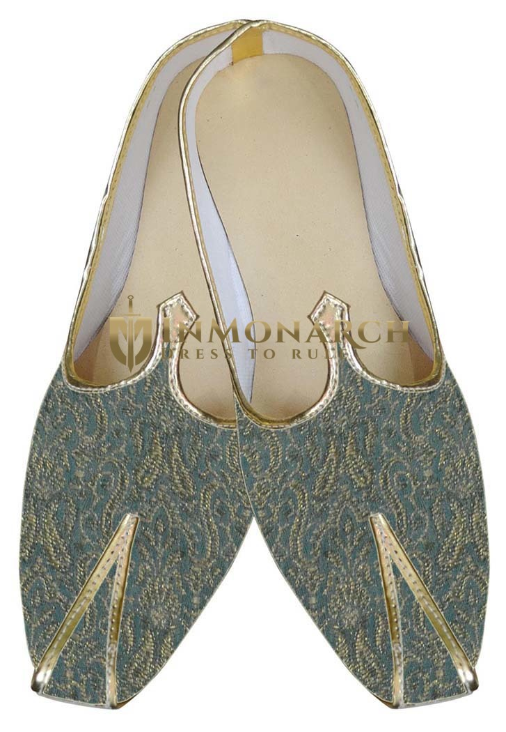 Mens Sea Green Brocade Wedding Shoe
