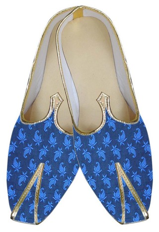 Traditional Shoes For Men Blue Indian Wedding Shoe Groom Juti