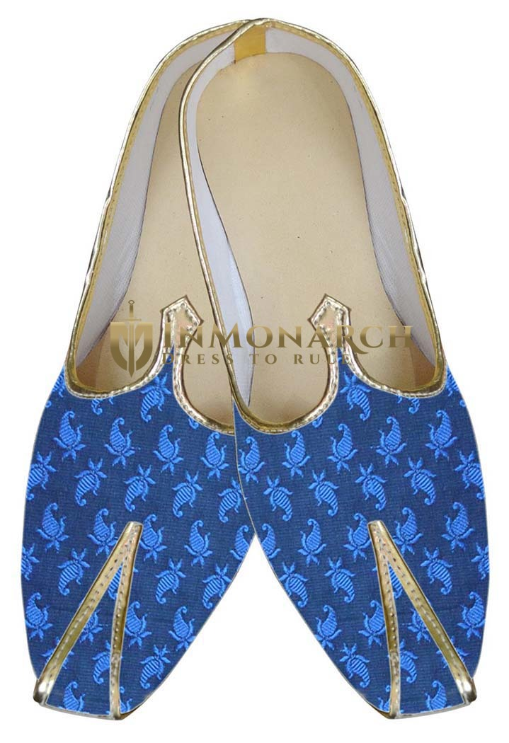 Mens Blue Brocade Indian Wedding Shoe