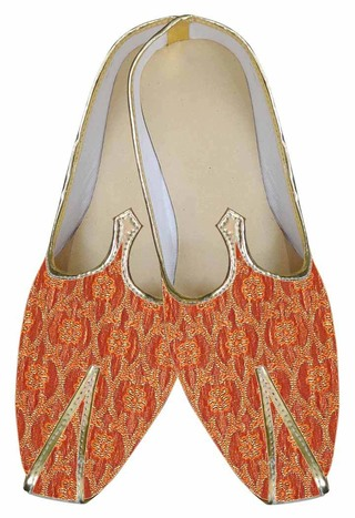 Mens Indian Bridal Shoes Orange Indian shoes Groom Wedding Shoes