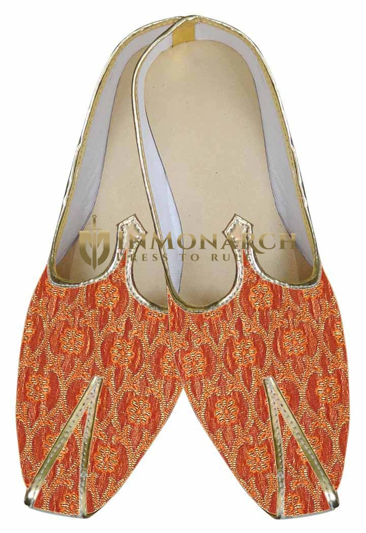 Mens Orange Fabulous Indian shoes