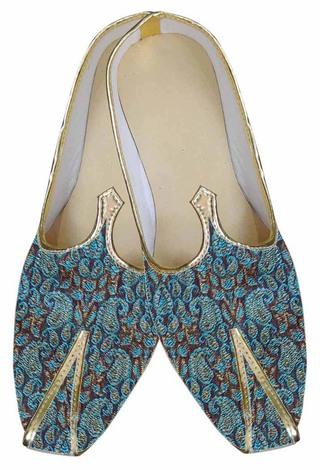 Mens Teal Brocade Groom Shoes