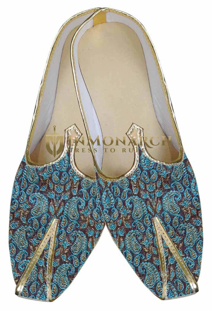 Mens Teal Brocade Wedding Shoes Paisley Pattern MJ0017