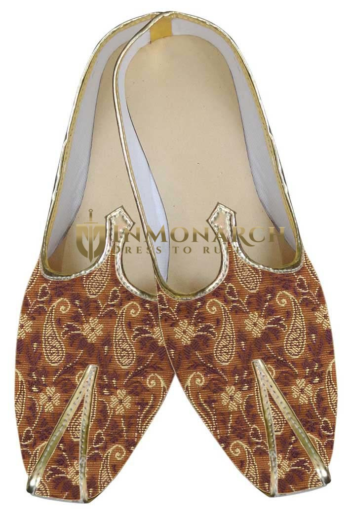 Mens Copper Brocade Wedding Shoes Paisley MJ0018