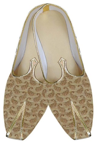 Mens Beige Brocade Shoes Paisley Style