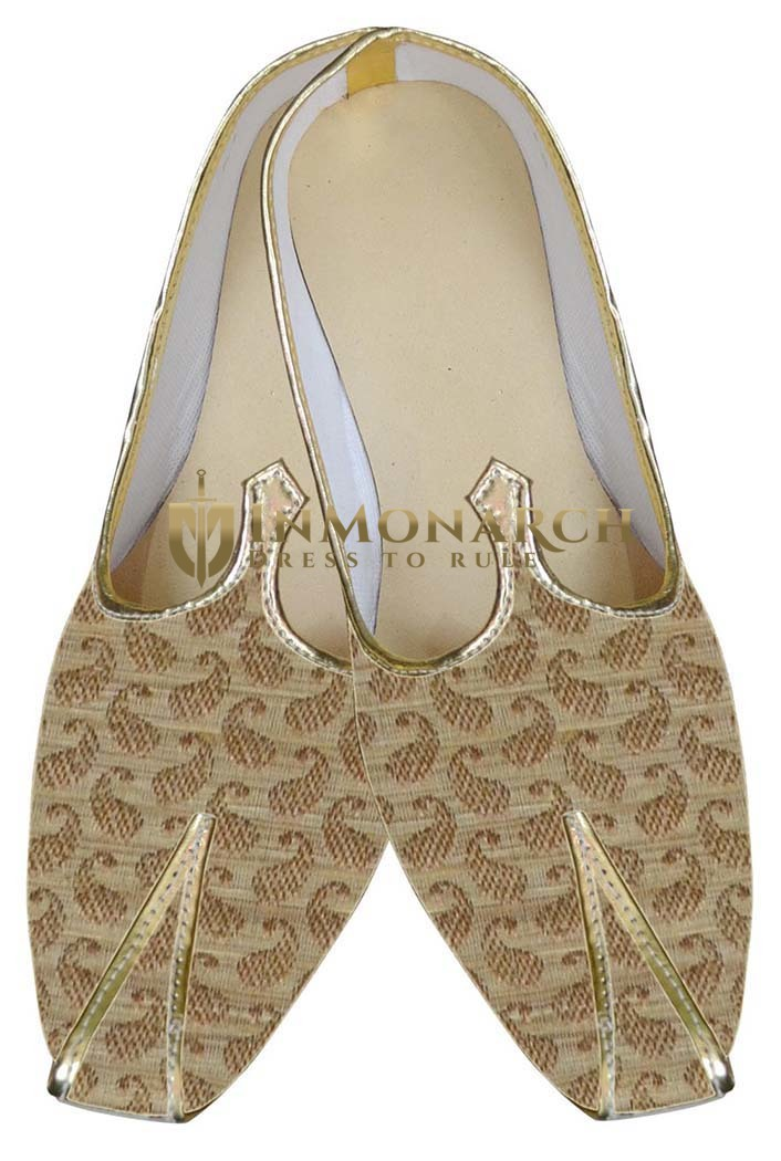 Mens Wedding Shoe For Groom Beige Shoes Paisley Style Indian Bridal Shoes