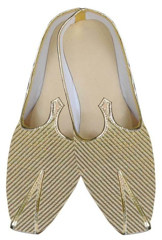 Mens Juti Golden Shoes Wales Pattern Sherwani Shoes