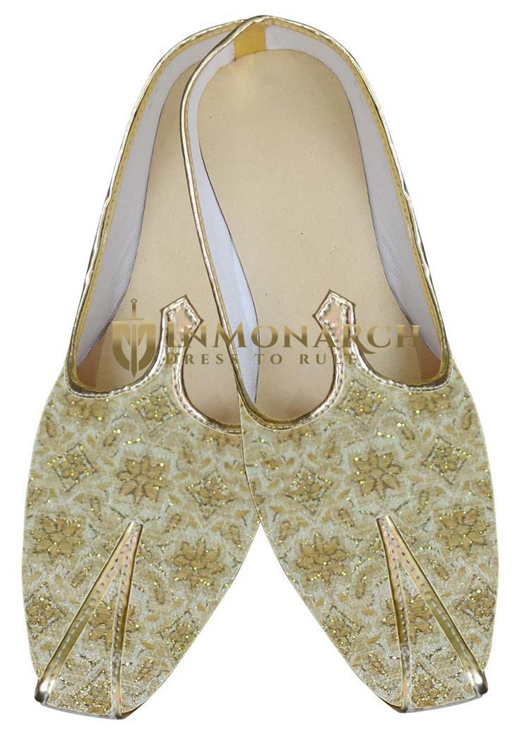 Mens Sherwani Shoes Golden Indian Wedding Shoes Juti For Men
