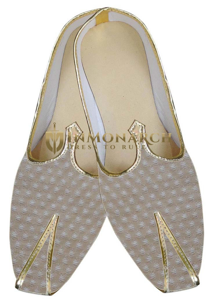 Mens Beige Brocade Wedding Shoes Traditional