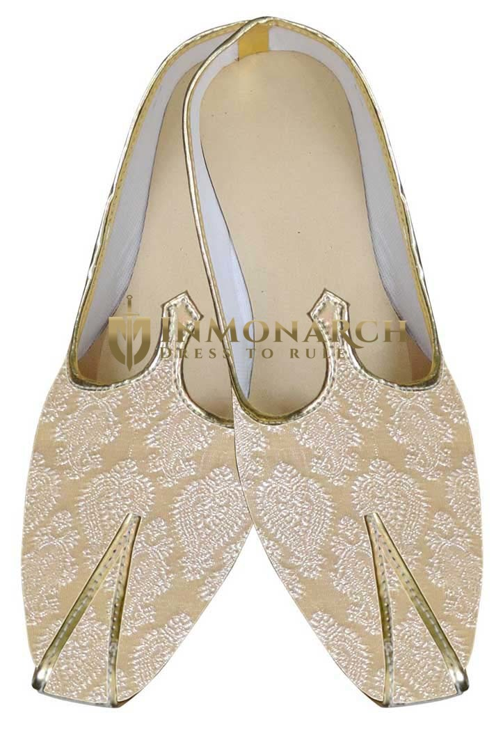 Mens Ivory Brocade Shoes Indian Wedding