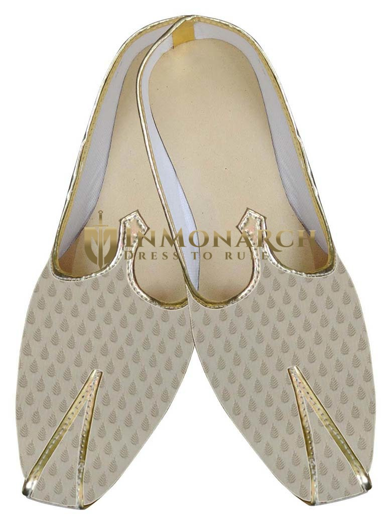 Mens Beige Brocade Royal Indian Shoes