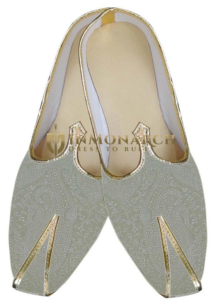 Mens Cream Brocade Unique Look Shoes