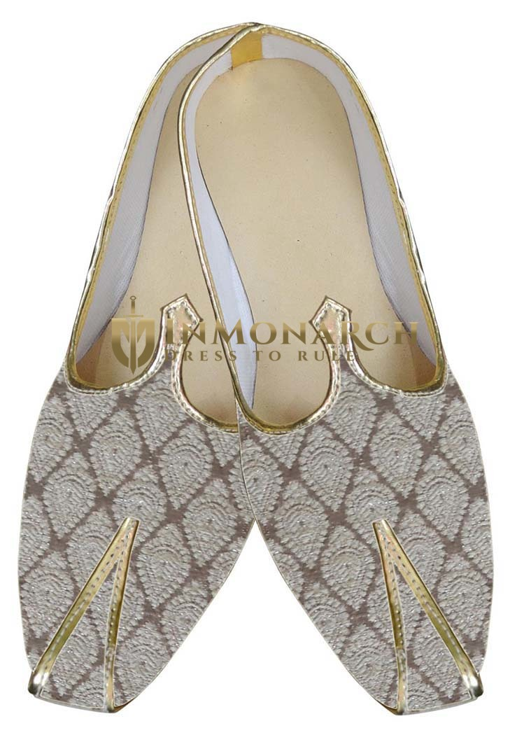 Mens Cream Brocade Wedding Shoes Classic