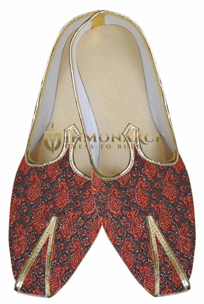 Mens Indian Bridal Shoes Red and Black Wedding Shoes Paisley