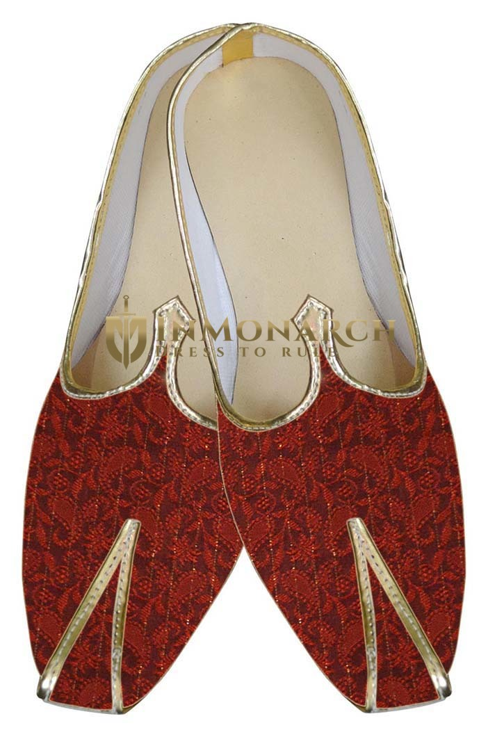 Indian Mens Shoes Red Shoes Paisley Pattern Mens Juti