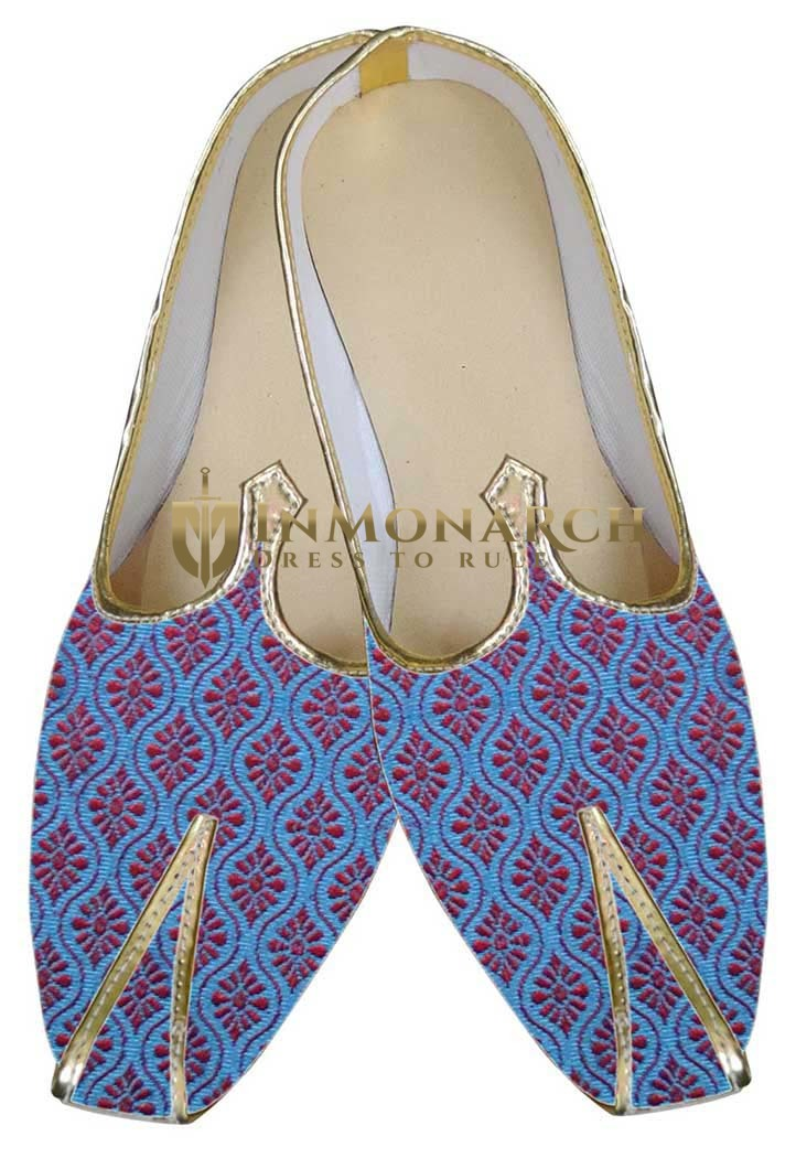 Mens Blue Brocade Shoes Red Flower