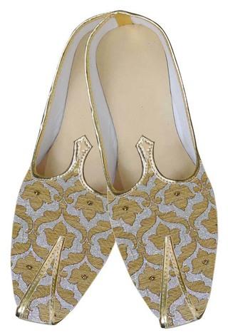Mens Silver Brocade Wedding Shoes Golden Floral