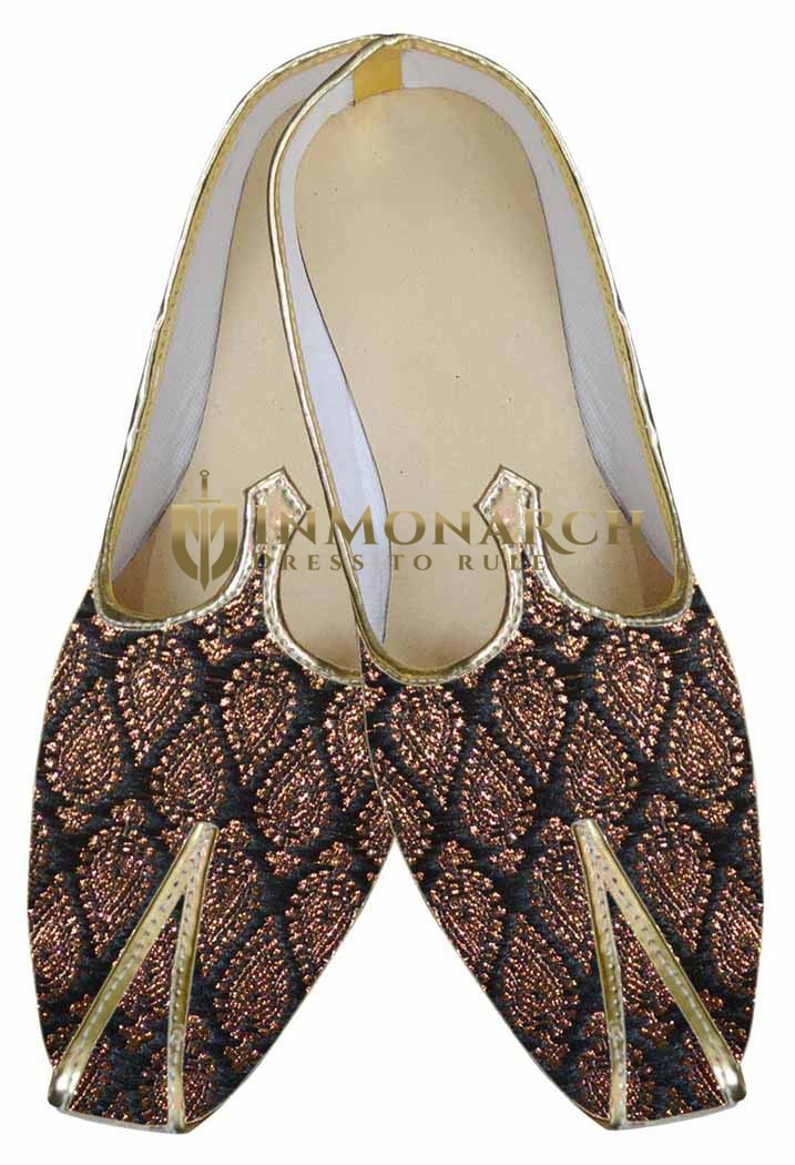 Mens Black Indian Shoes Copper color Design