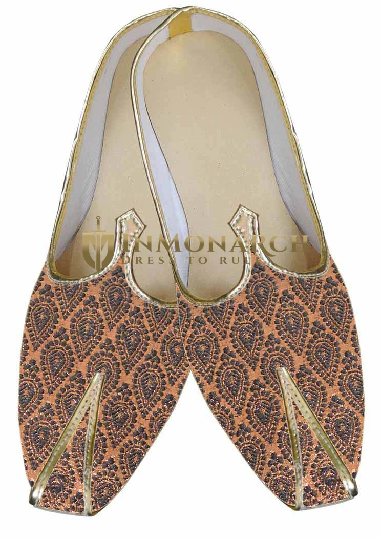 Mens Copper Brocade Designer Shoes