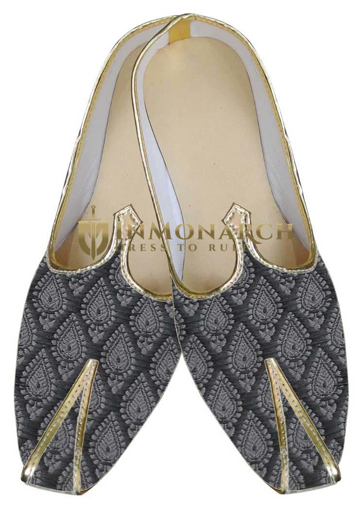 Mens Gray Brocade Classic Indian Shoes MJ0053