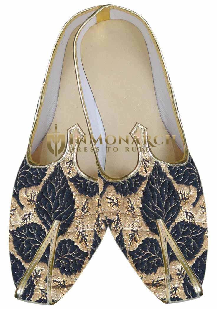 Mens Black Wedding Shoes Golden Design