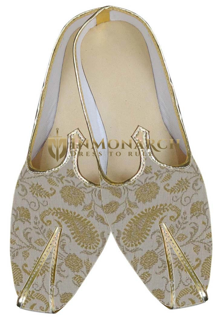 Mens Cream Brocade Wedding Shoes Paisley