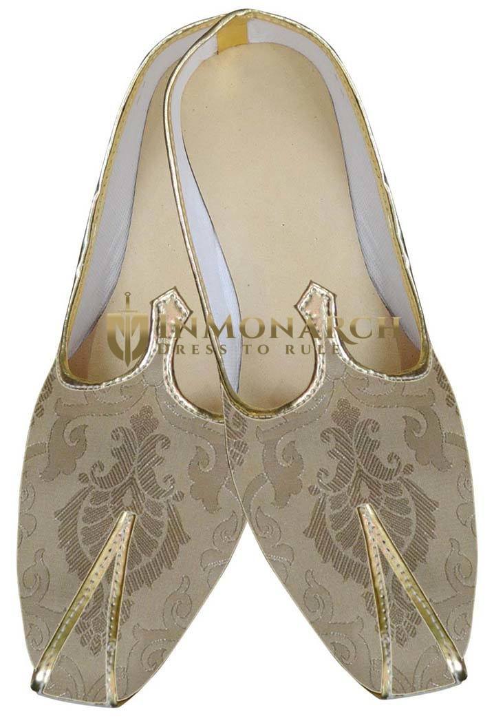 Mens Cream Ivory Brocade Two Tone Wedding Shoes MJ0067