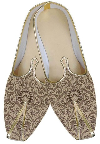 Mens Golden Brocade Jodhpuri Shoes