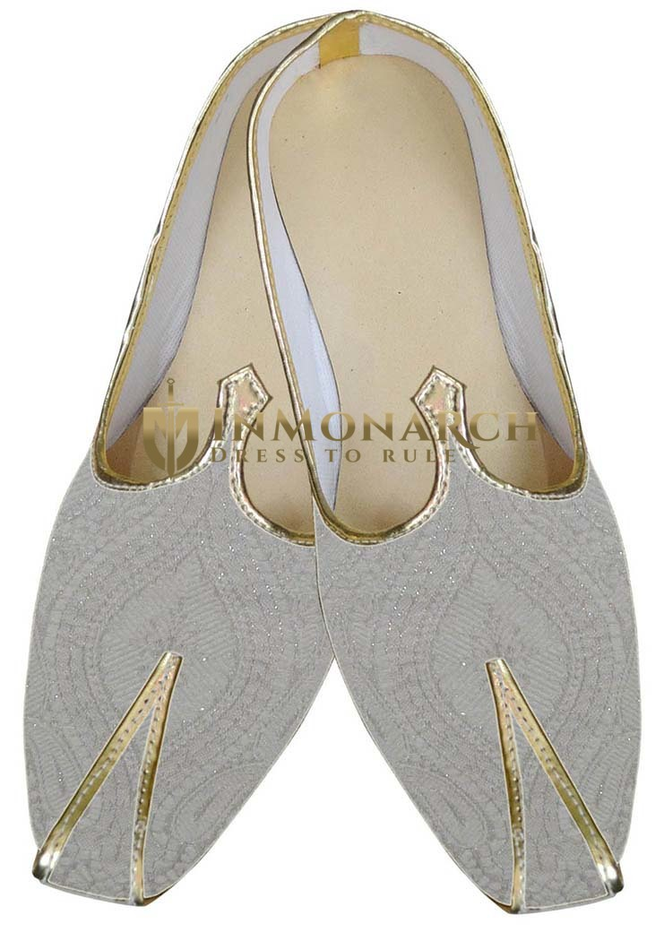 Mens Cream Wedding Rajasthani Shoes