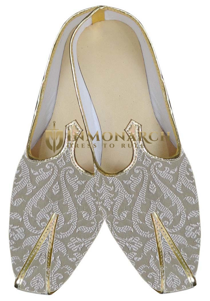 Mens Cream Traditional Wedding Shoes