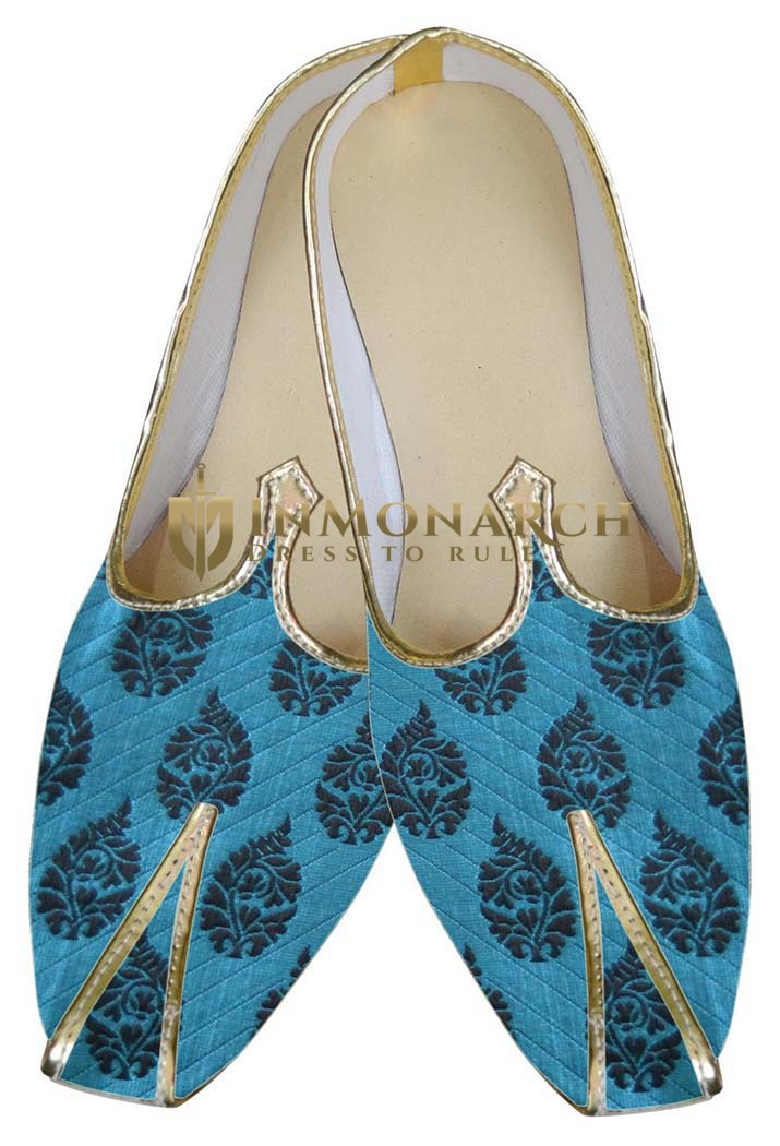 Mens Indian Bridal Shoes Blue Wedding Classic Look Shoes
