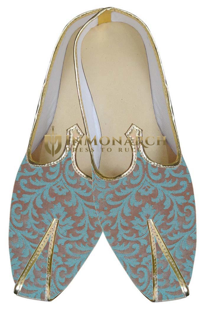 Mens Juti Teal Two Tone Wedding Sherwani Shoes