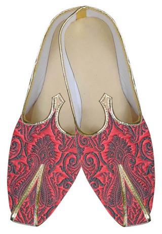 Mens Maroon Brocade Designer Shoes